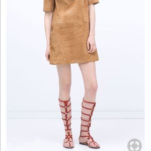 Zara Buckled Leather Gladiator Sandols